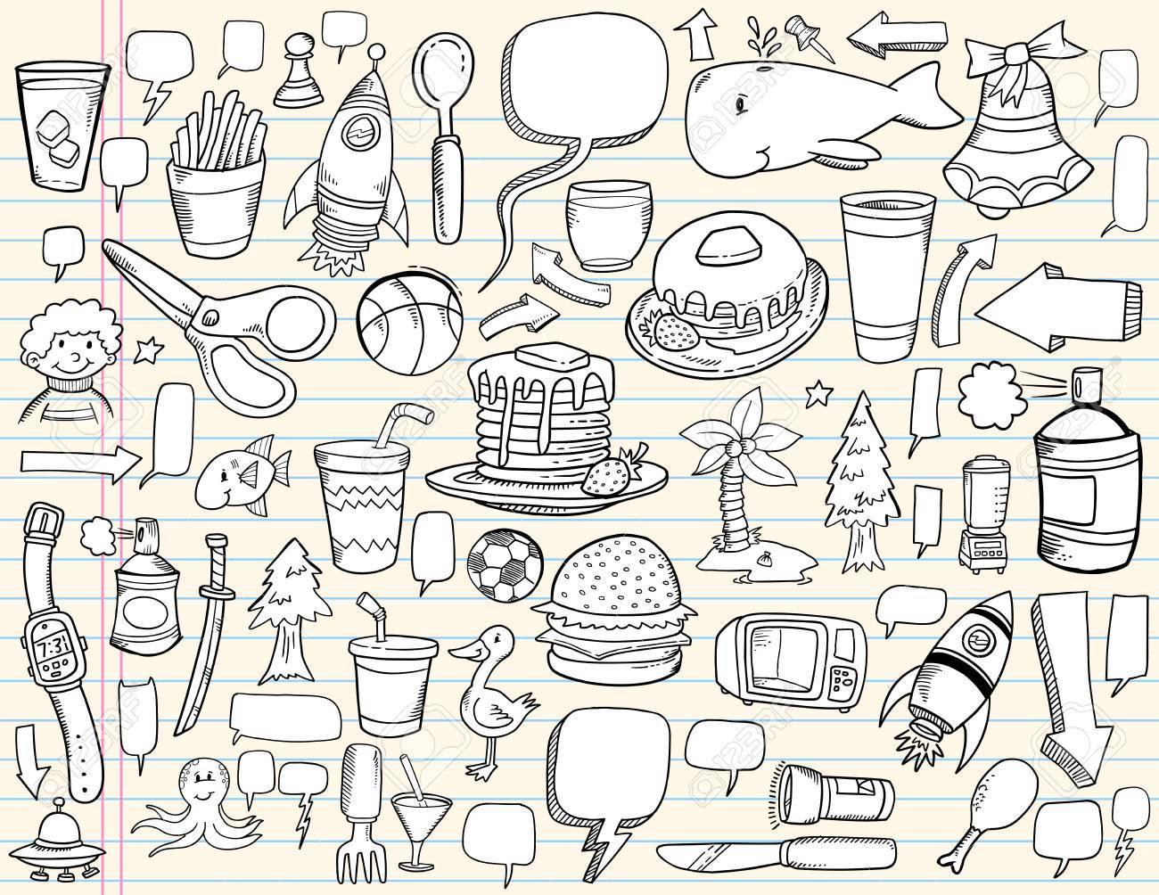 Notebook Doodle Speech Bubble Design Elements Mega Illustration Set - 7261099