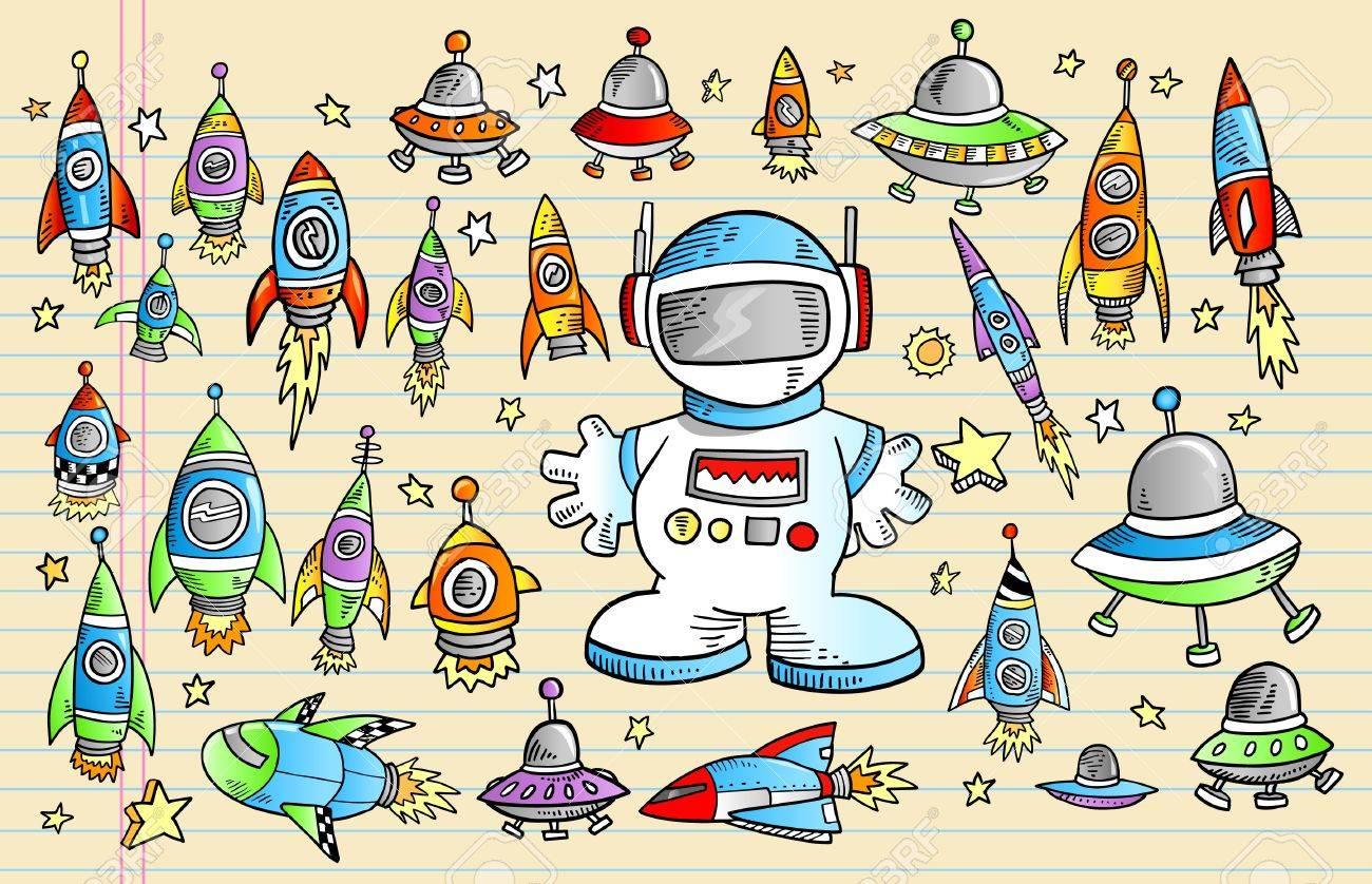 Notebook Outer Space Rocket Ship Doodle Sketch Vector Illustration Set - 9460452