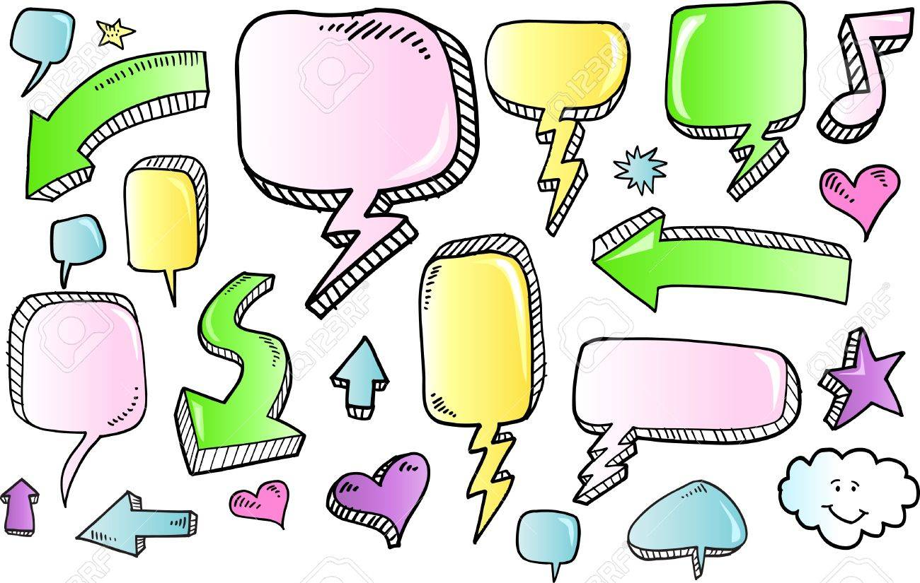 Notebook Color Doodle Sketch Speech Bubble Arrow Vector Illustration Set Stock Vector - 9483828