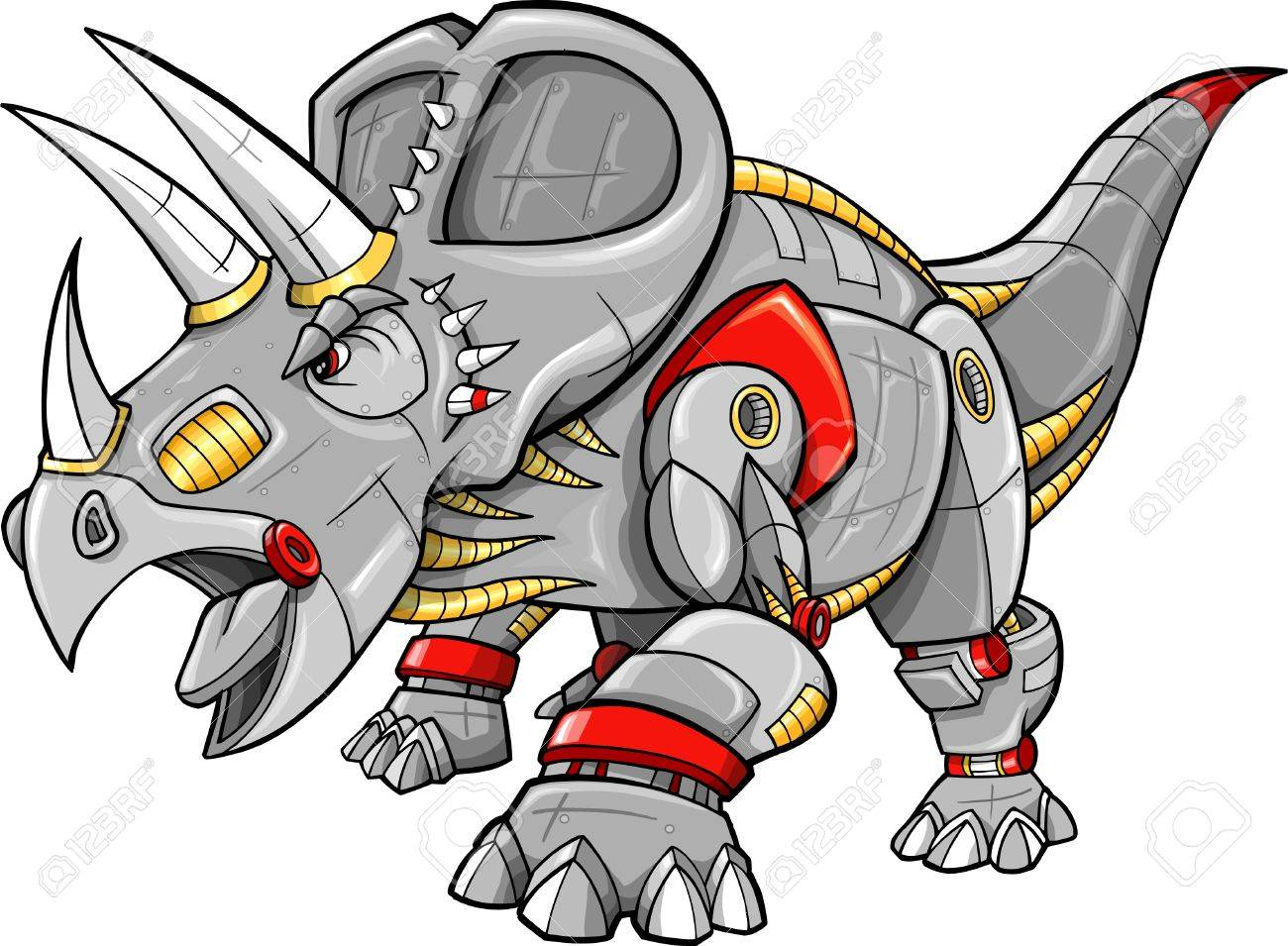 Robot Machine Triceratops Dinosaur Vector Illustration Stock Vector - 9516760