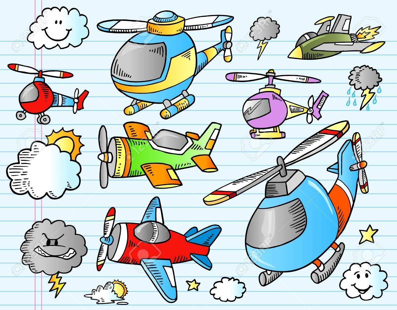 Notebook Aircraft Weather Doodle Sketch Illustration Set - 10024208