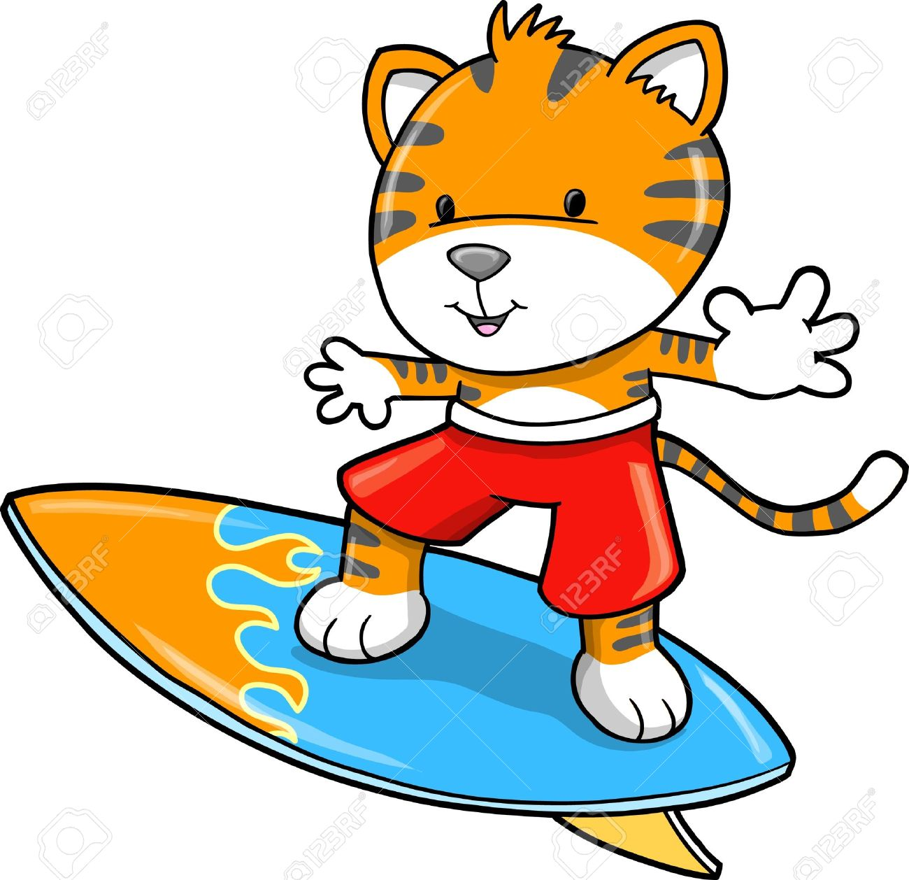 Cute Safari Surfing Tiger Illustration - 10031026