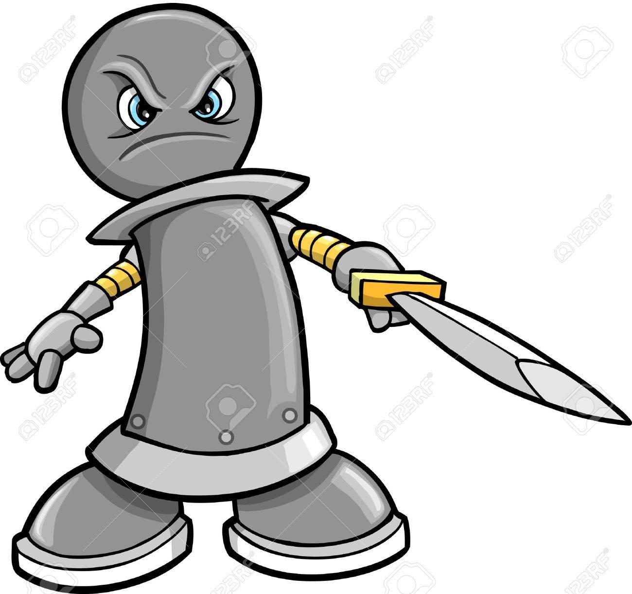 Cyborg Robotic Warrior Chess Rook Illustration Stock Vector - 10031047