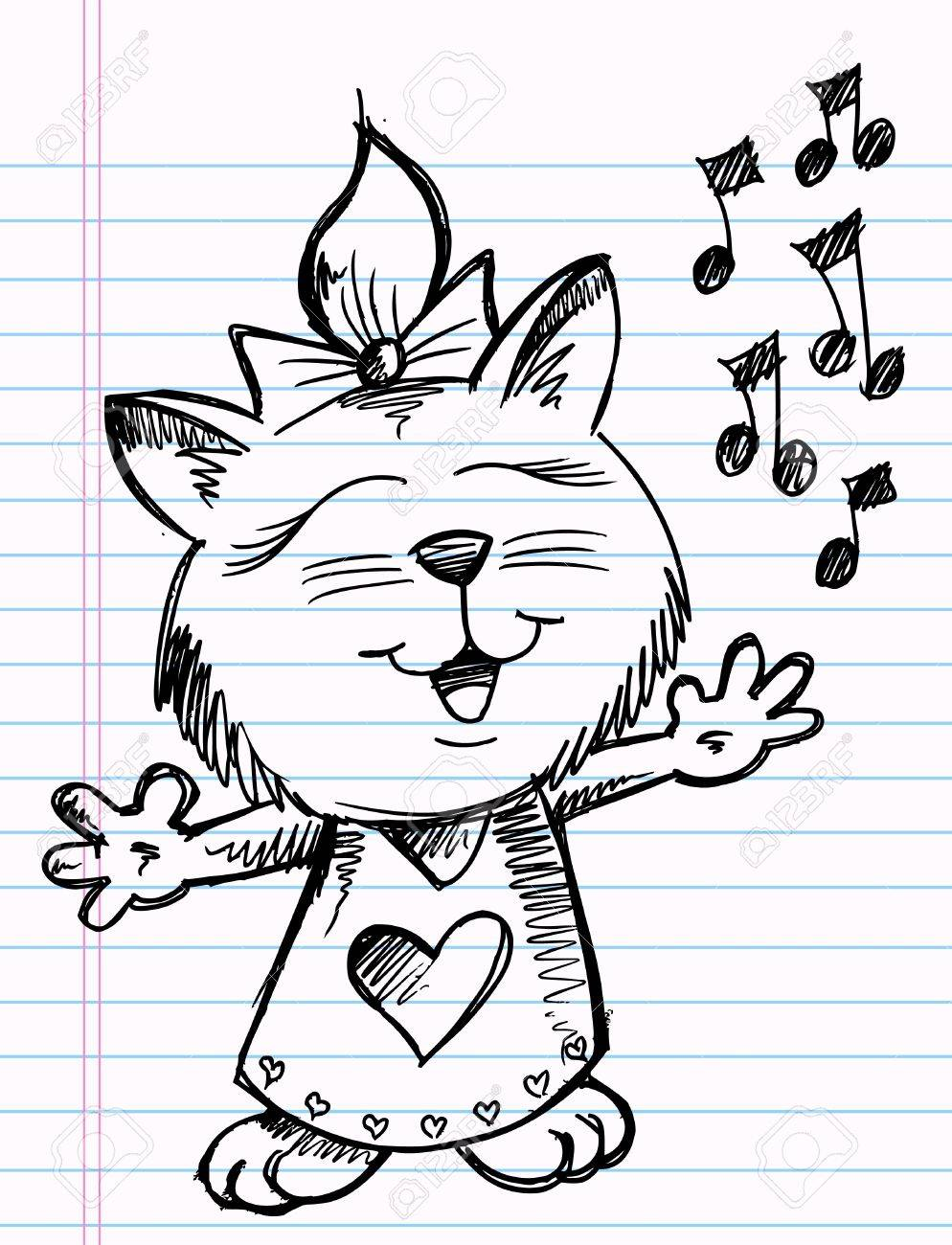 Sketchy doodle Singer Music Cat Vector Illustration Stock Vector - 10104515