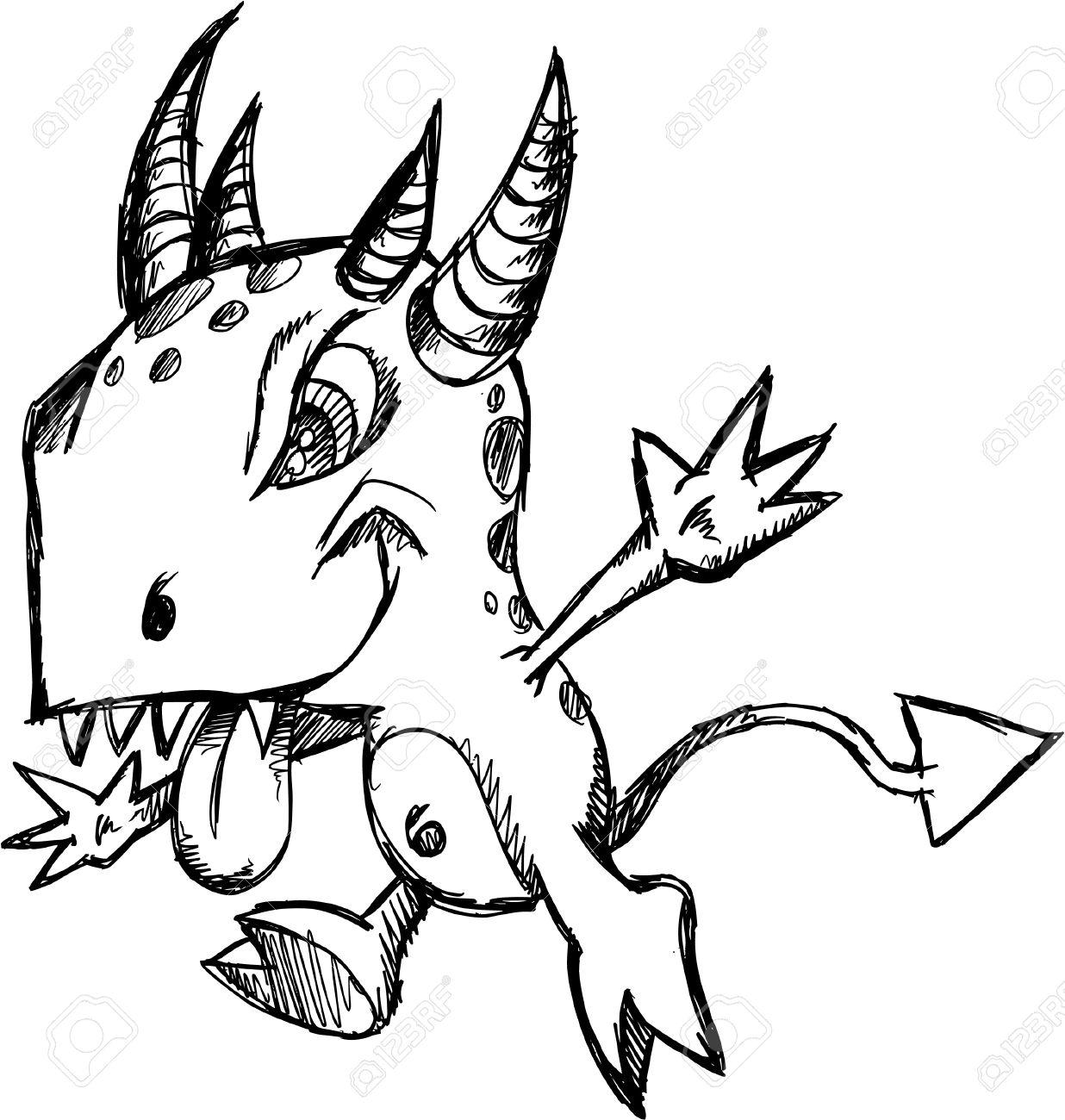 Crazy Insane Sketch Doodle Wild Monster Vector Illustration Cartoon Character Stock