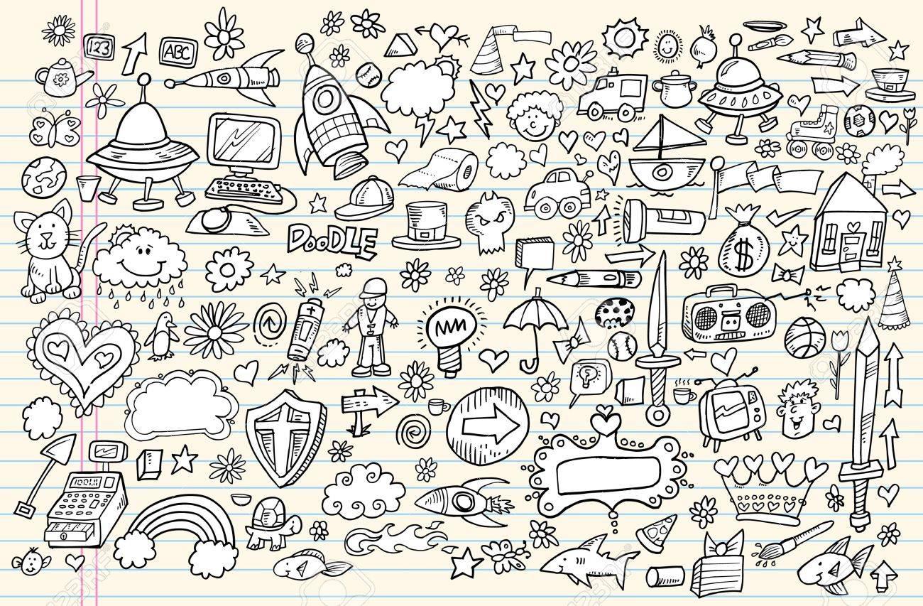 Notebook Doodle Sketch Design Elements Mega Vector Illustration Set - 11546842