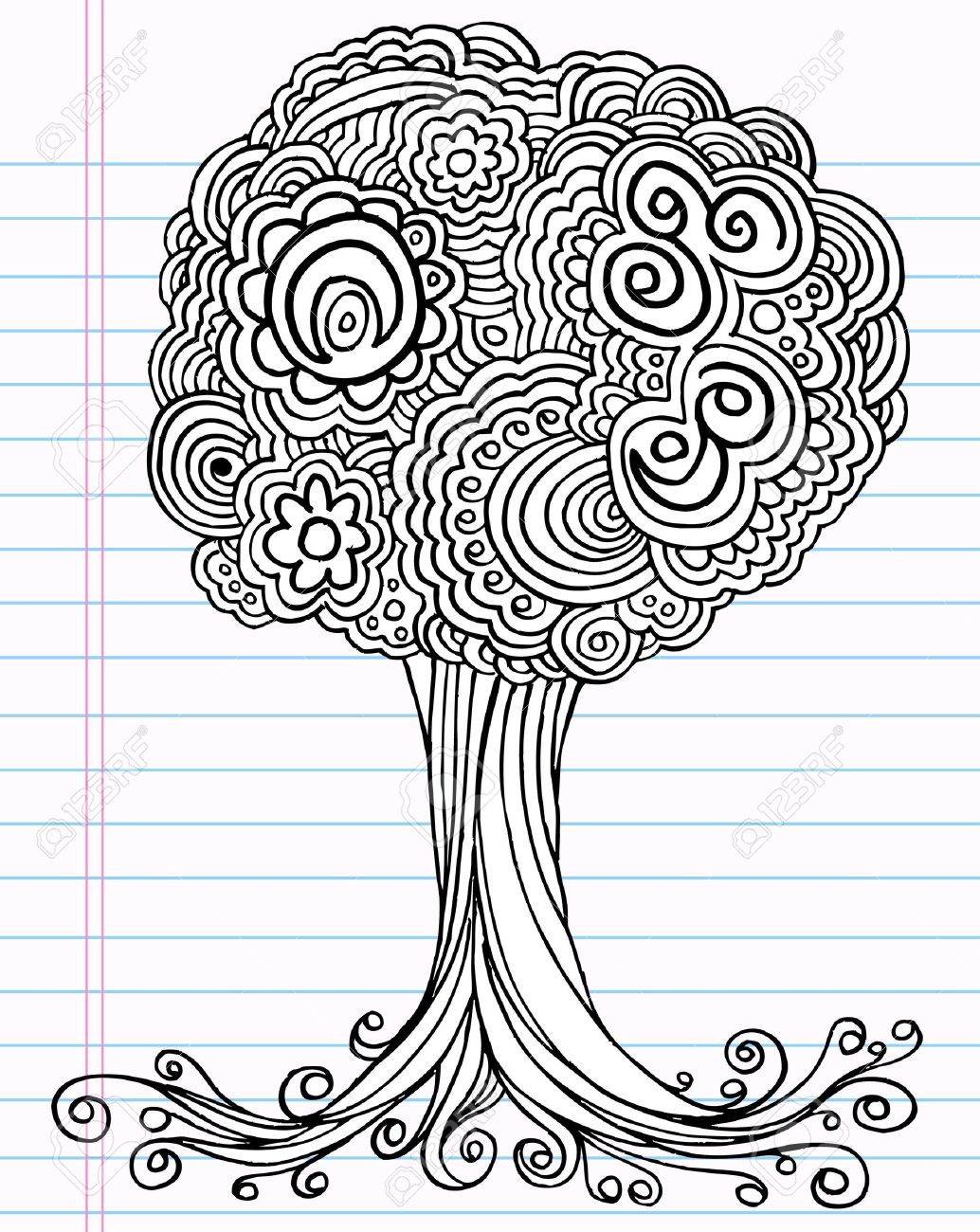 Notebook Doodle Sketch Henna Tree Drawing Illustration Art Royalty