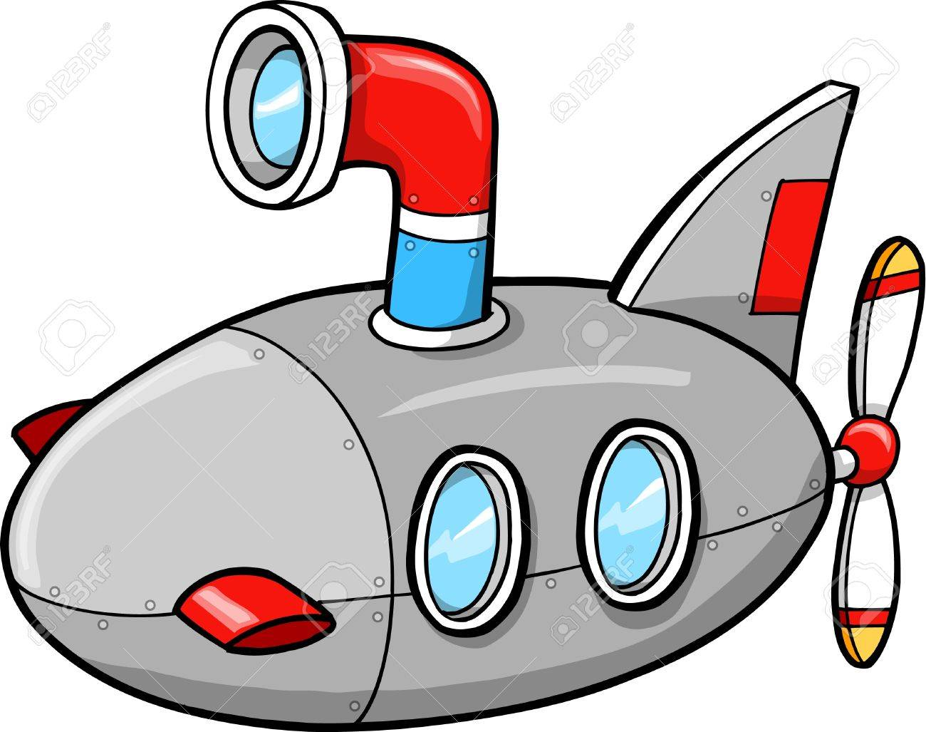 Cute Little Submarine Ship Vector Illustration - 11655584