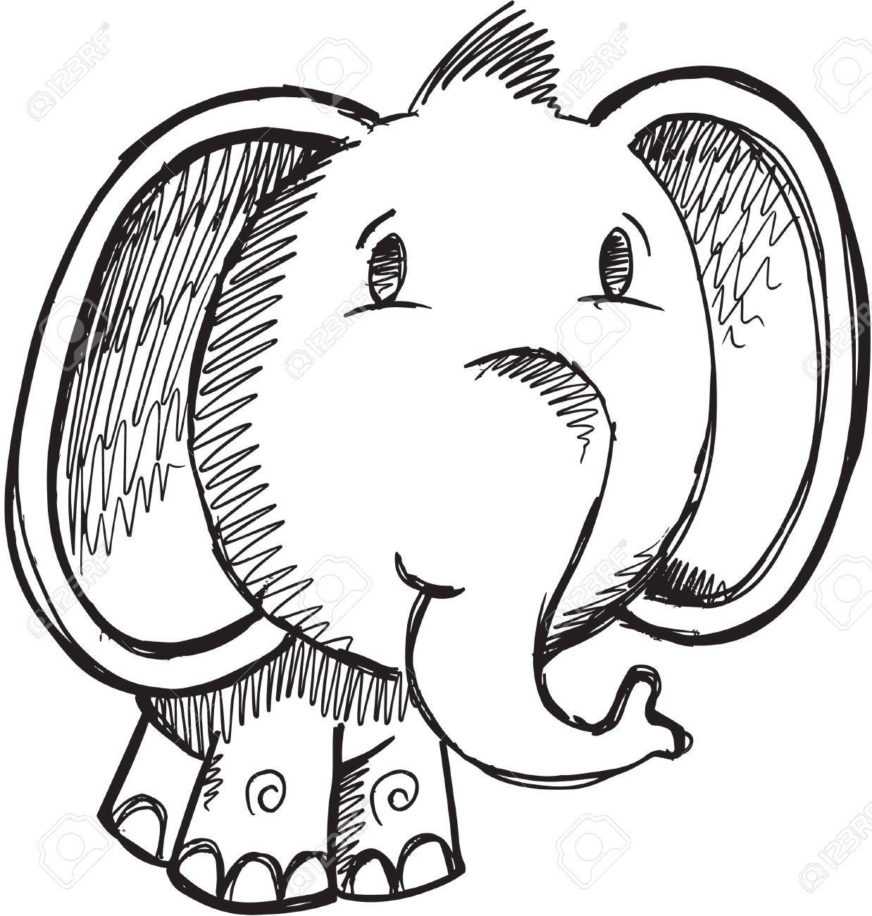 Sketch Doodle Drawing Safari Elephant Vector Illustration Stock Vector - 11655618