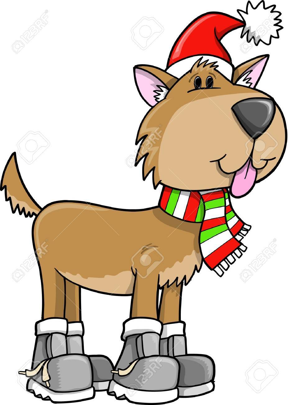 Cute Holiday Christmas Puppy Dog Illustration Royalty Free Cliparts