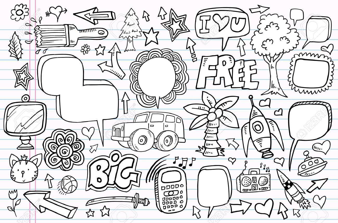 Mega doodle sketch drawing vector element illustration notebook set - 12151116
