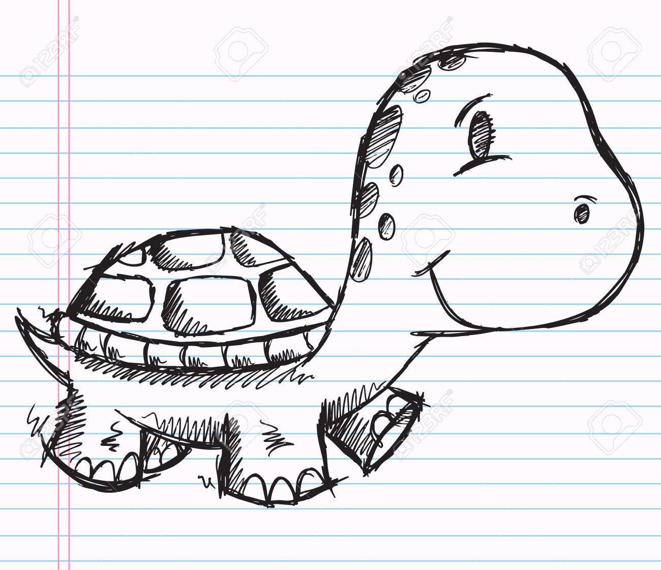 Notebook Doodle Sketch Turtle Vector Illustration Drawing Art Stock Vector 12151139