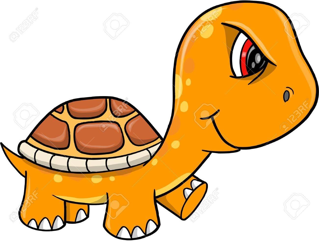 Angry Mad Orange Turtle Vector Illustration Art - 12151194