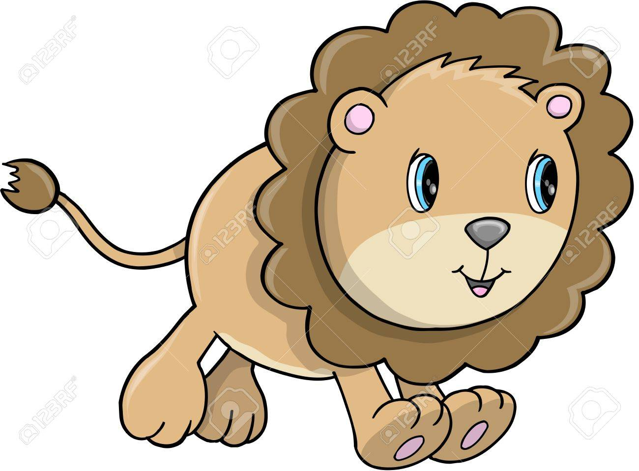 かわいいライオン幼いこども動物サファリ野生動物ベクトル イラスト