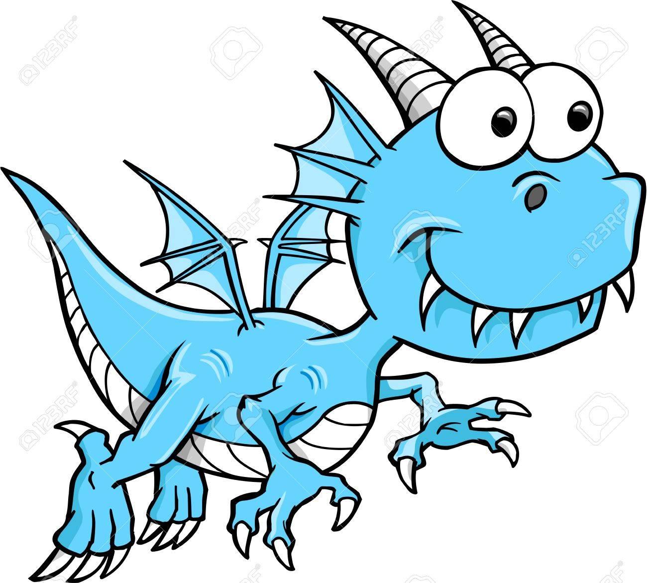 グーフィーの愚かな青いドラゴン ベクトル動物イラスト アートのイラスト