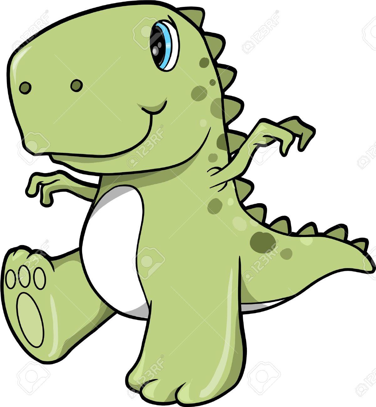Cute Green Dinosaur T-Rex Vector Illustration Art - 12151187