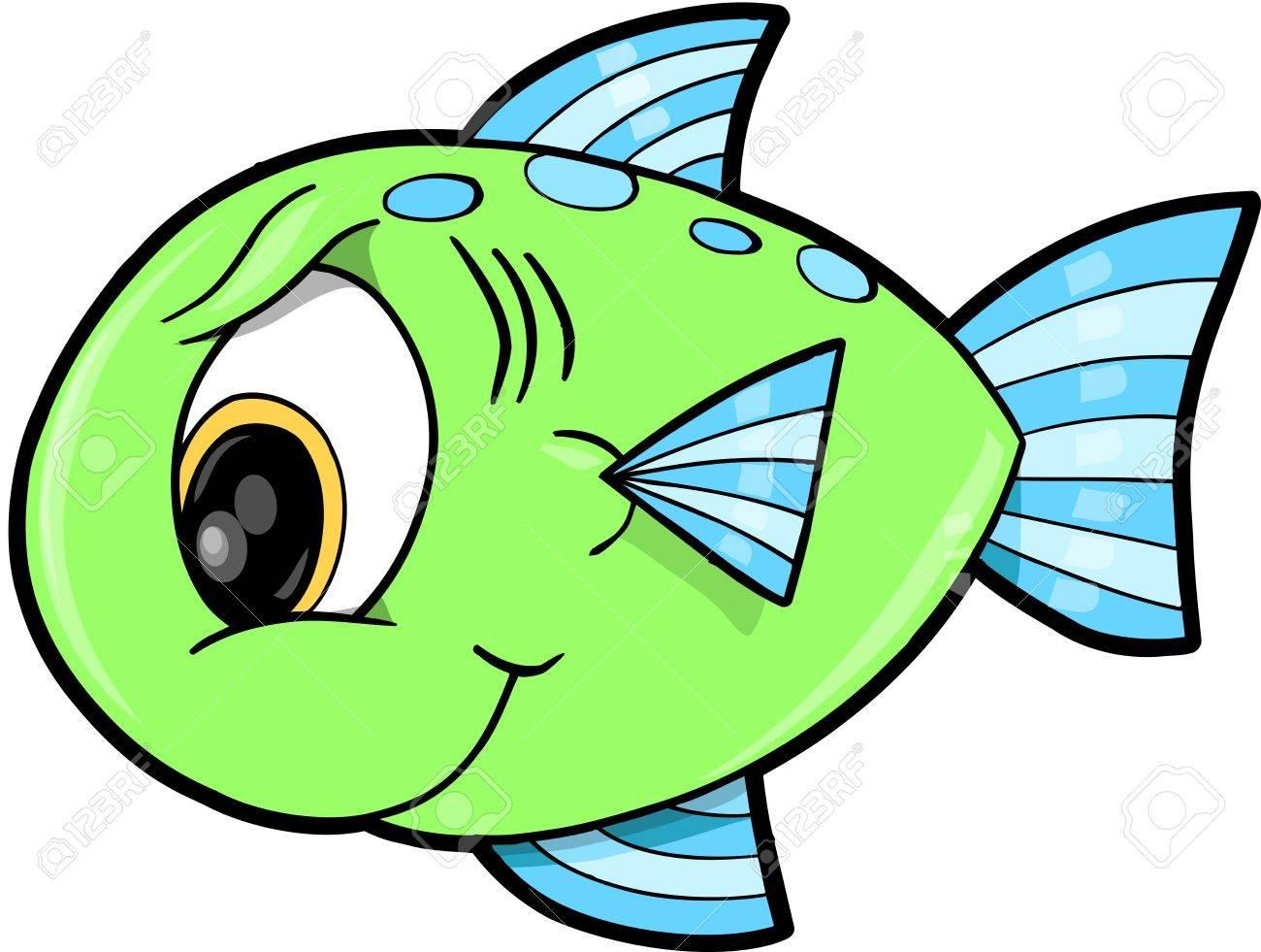 mean green fish ocean vector illustration royalty free cliparts