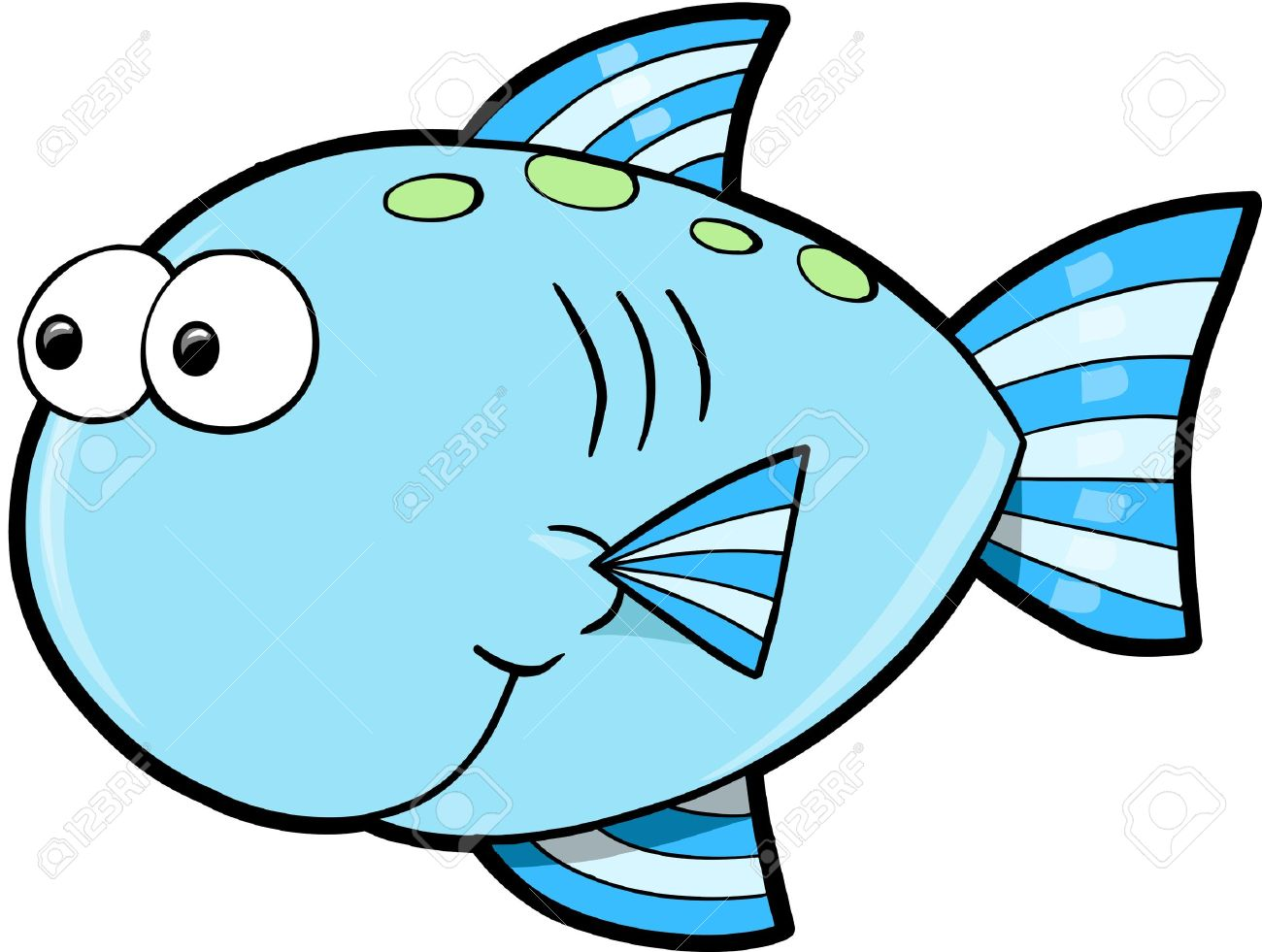 Silly Cute Fish Ocean Vector Illustration - 12413849