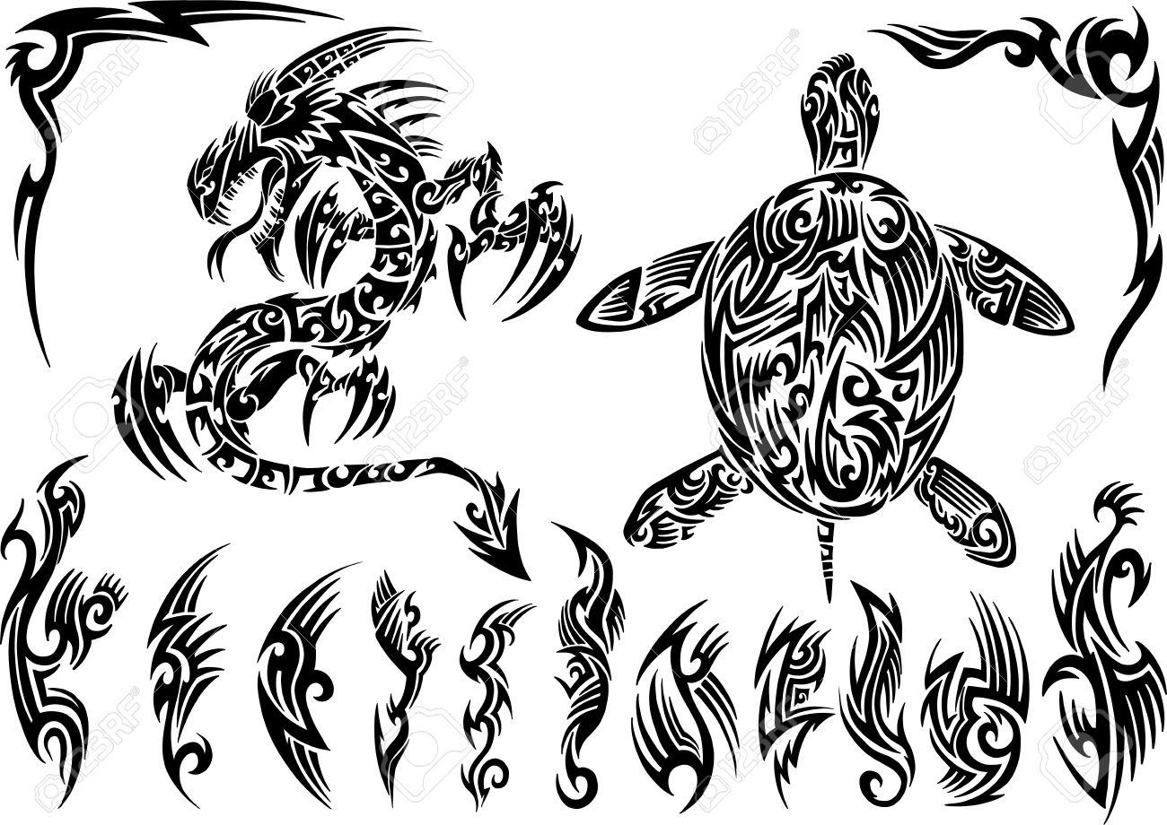 Dragon and Turtle Tattoo Set Vector Illustration - 12415051