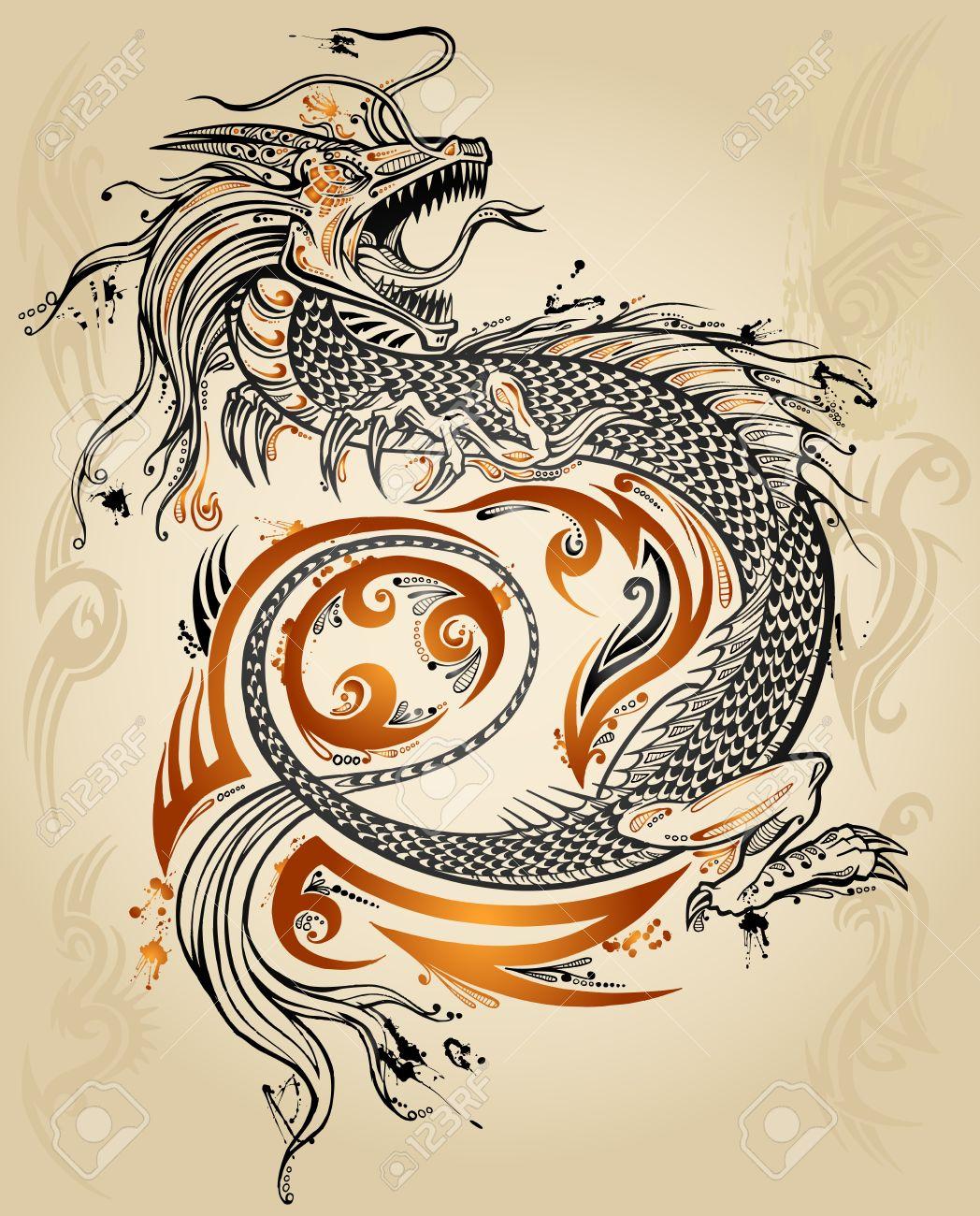 Dragon Doodle Sketch Tattoo Icon Tribal grunge Vector Illustration Art - 12415054
