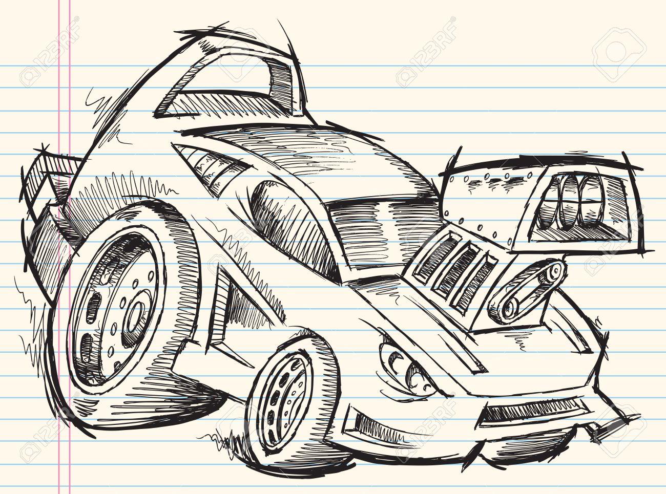 Doodle Sketch Street Car Vector Royalty Free Cliparts Vectors