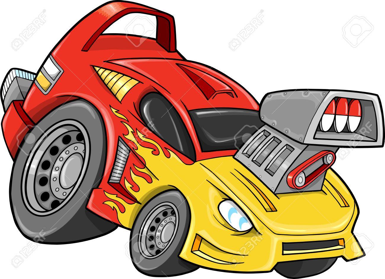 Race Car Street Car Vehicle Vector Illustration art - 12748928