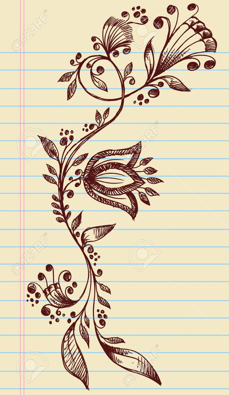 Sketchy Doodle Henna Elegant Flowers and Vines Hand Drawn Vector Stock Vector - 12852100