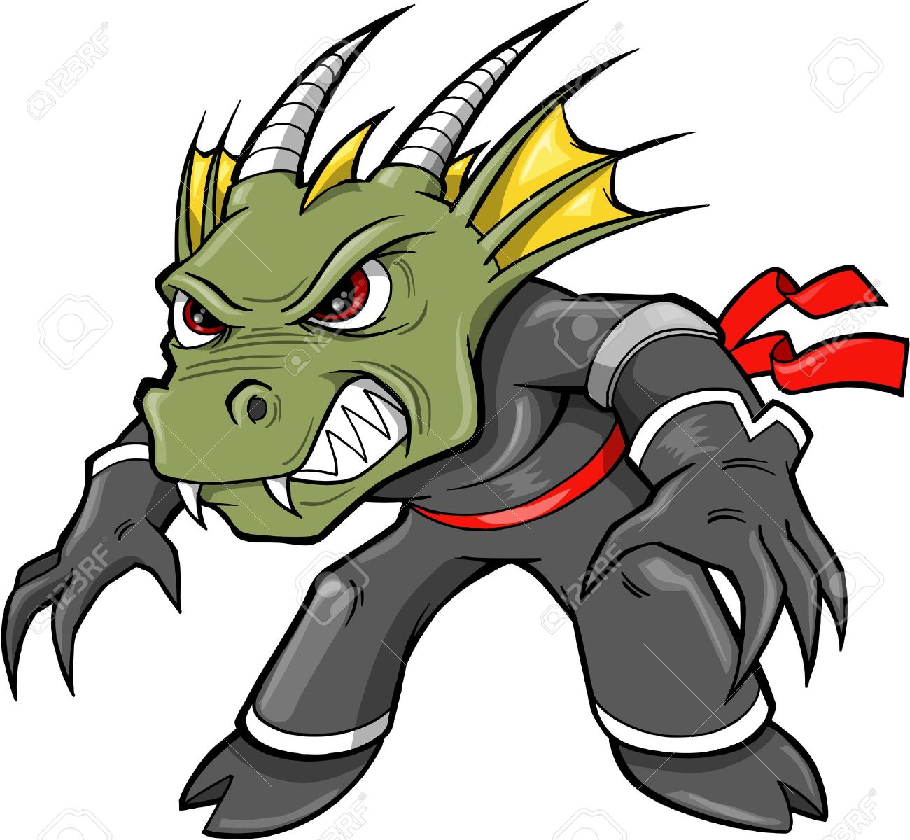 Warrior Ninja Dragon Lizard Vector Illustration - 13067013