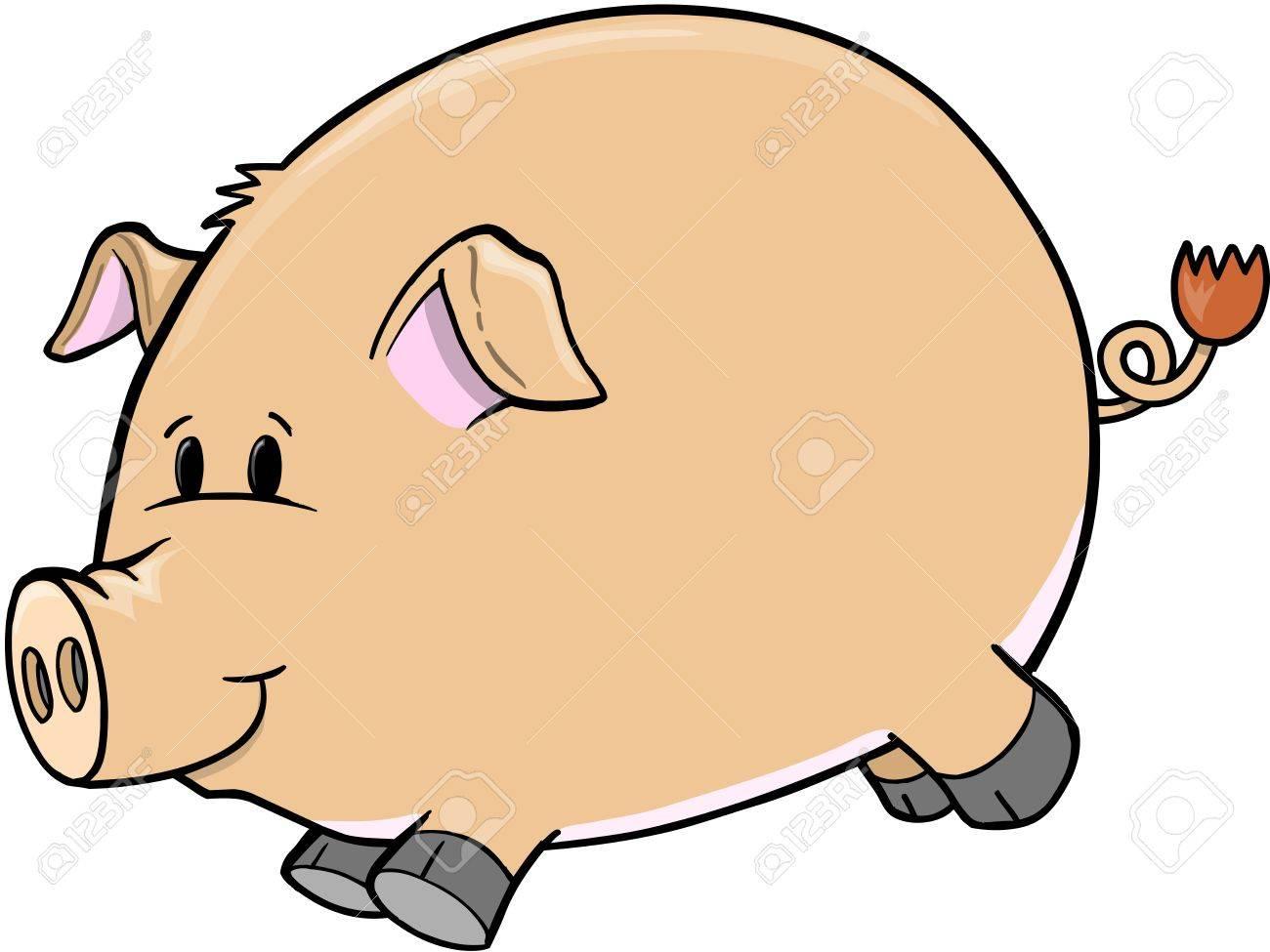 Cute Farm Pig Vector Illustration Art Stock Vector - 13067010