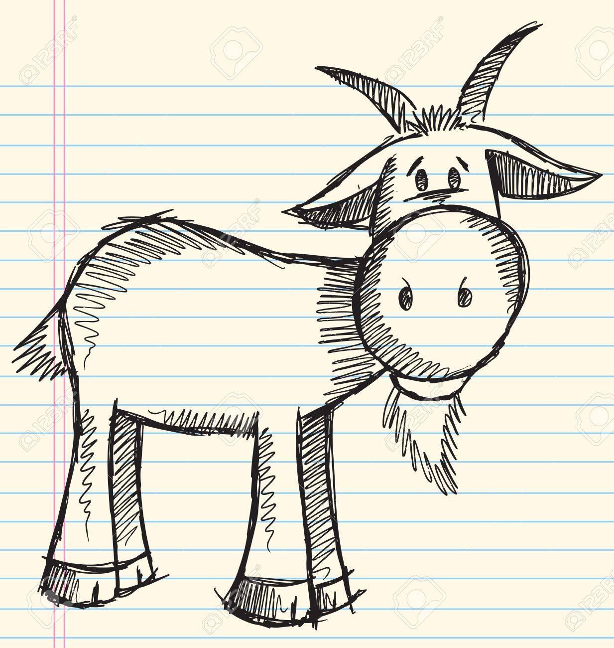 Doodle Sketch Goat Vector Illustration Stock Vector - 13110913