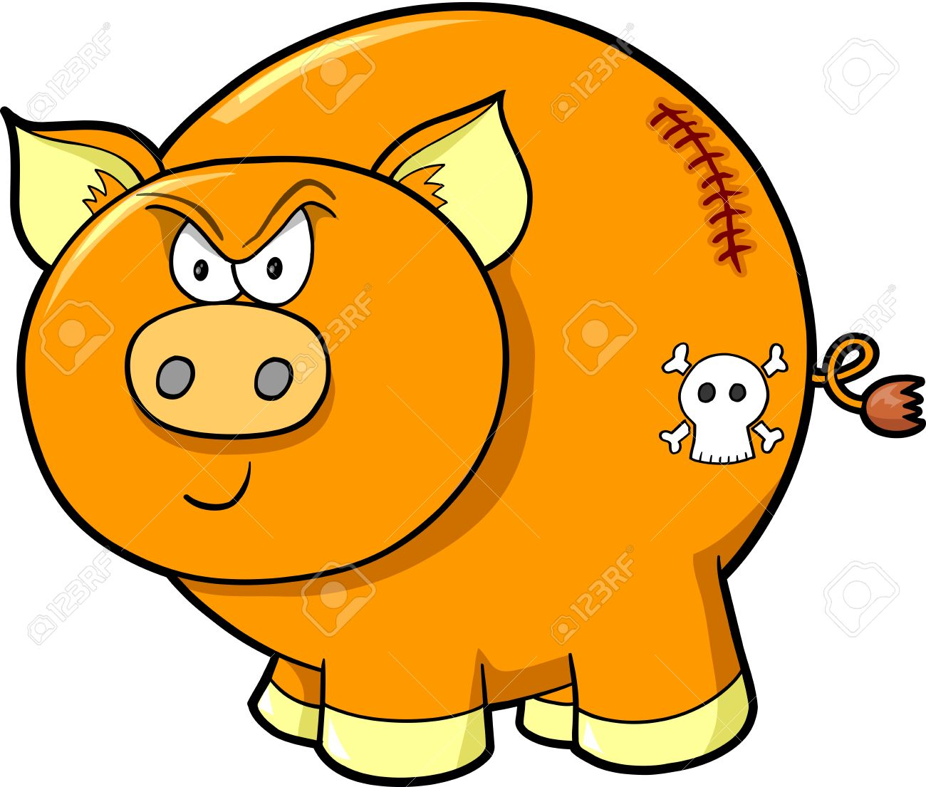 Tough Angry Farm Pig Vector Illustration Art Stock Vector - 13164813