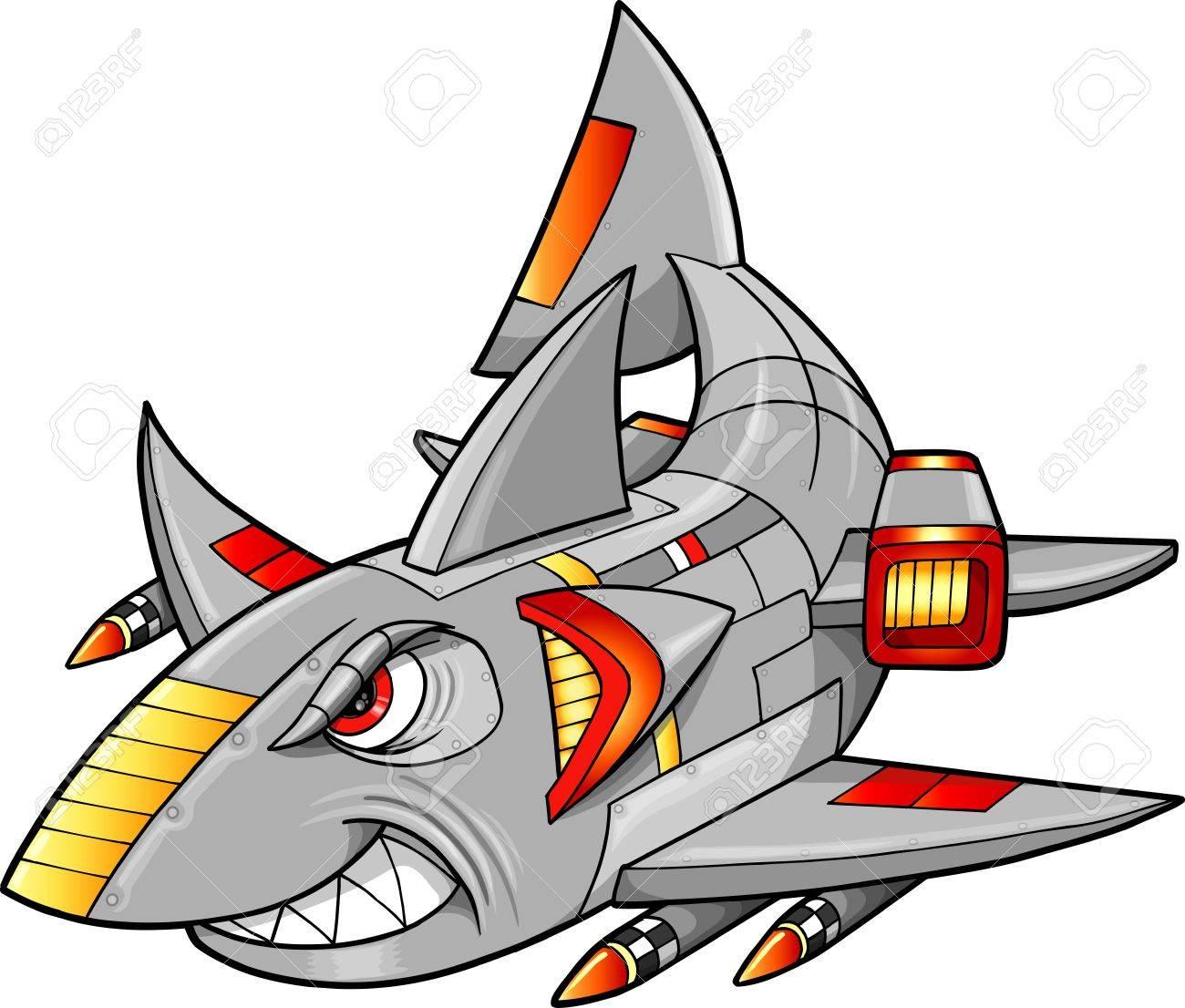 Metal Armed Robot Cyborg Shark Vector Illustration Stock Vector - 13269602