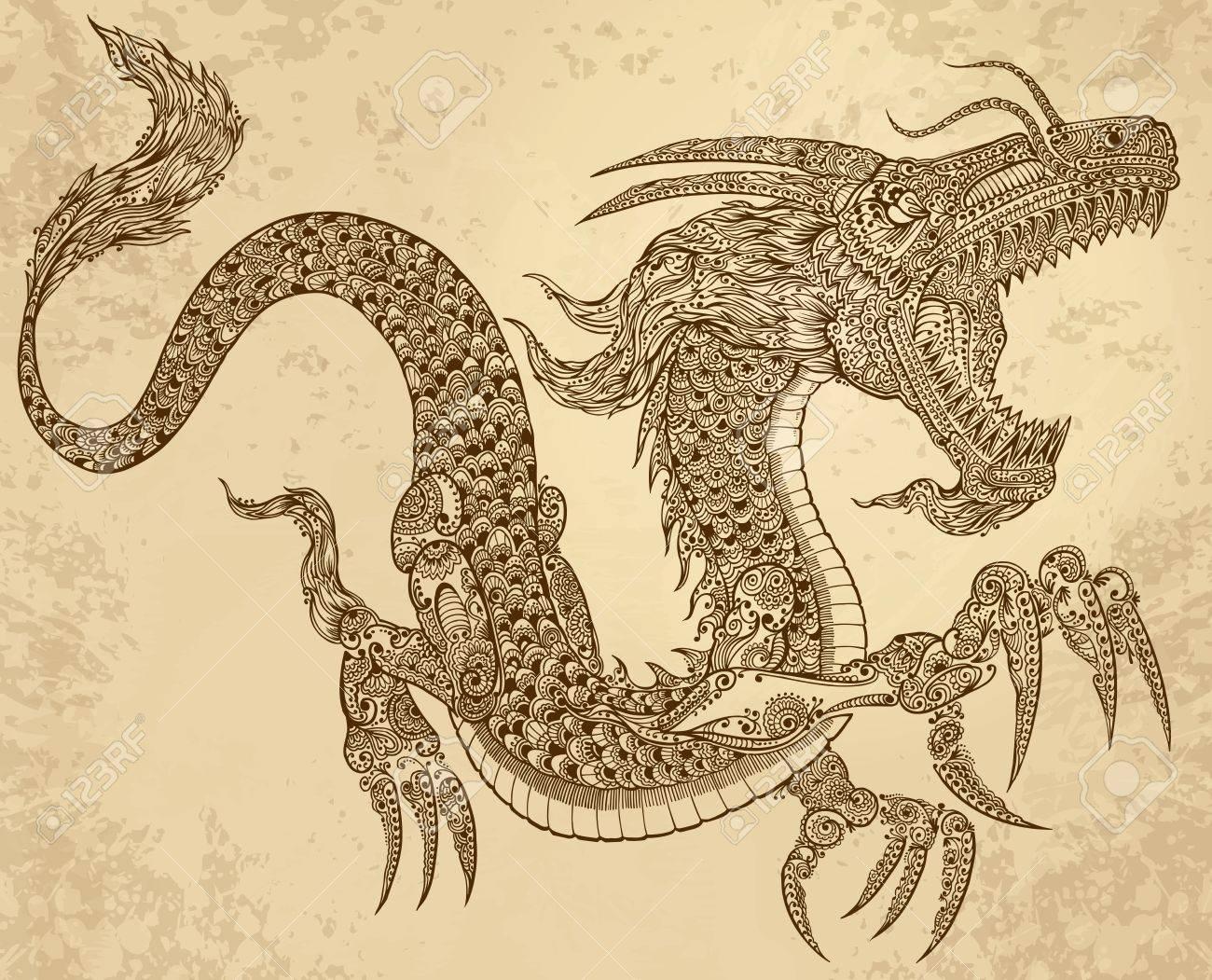 Henna Tattoo Dragon Doodle Sketch Tribal grunge Vector Illustration Art - 14065127