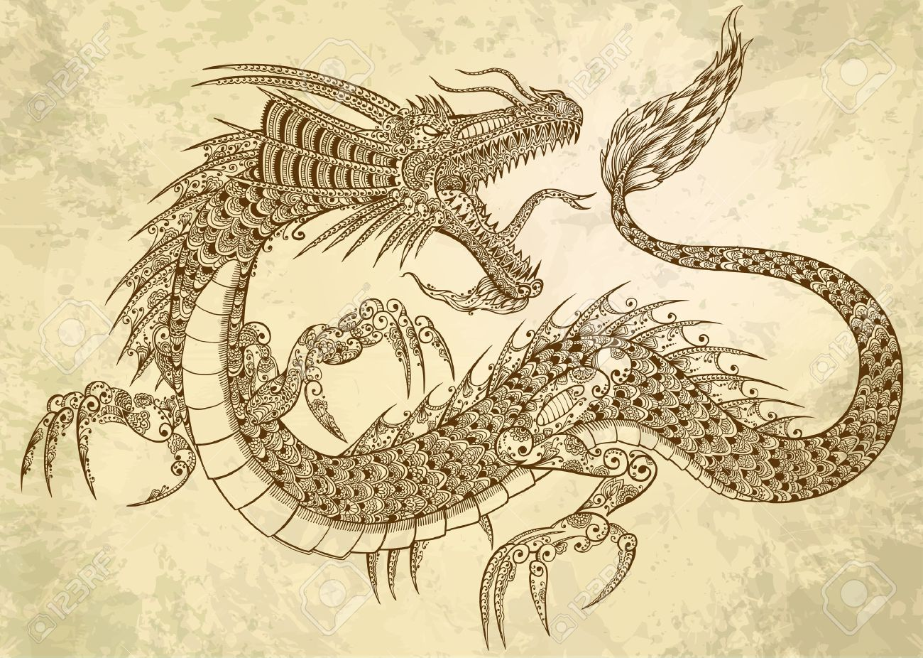 Henna Tattoo Dragon Doodle Sketch Tribal grunge - 14192000