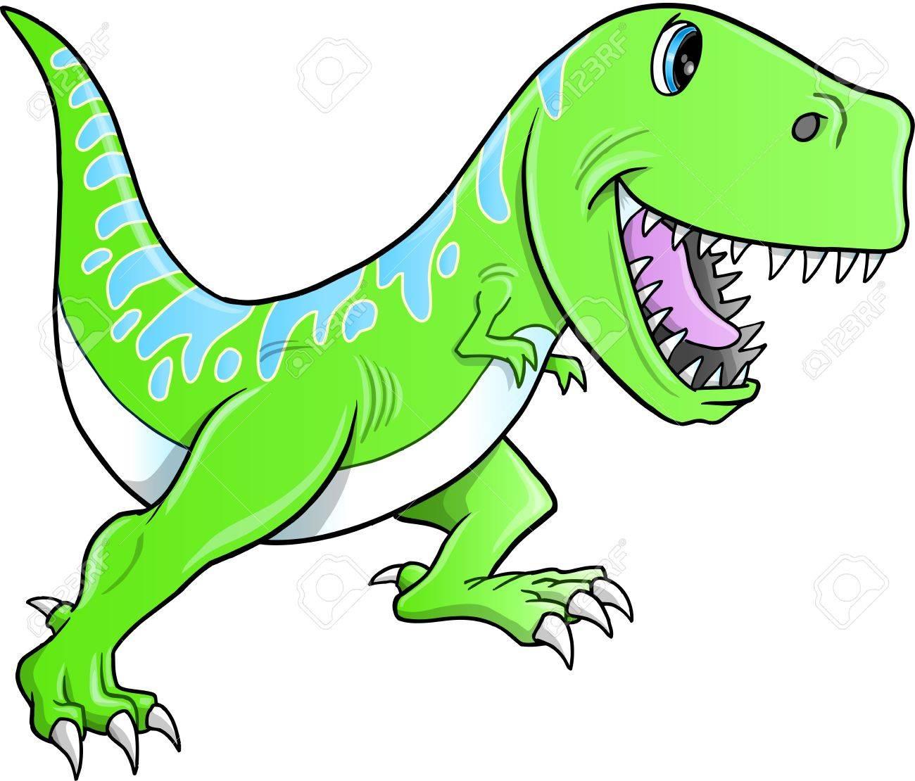 かわいいティラノサウルス恐竜イラストのイラスト素材ベクタ Image