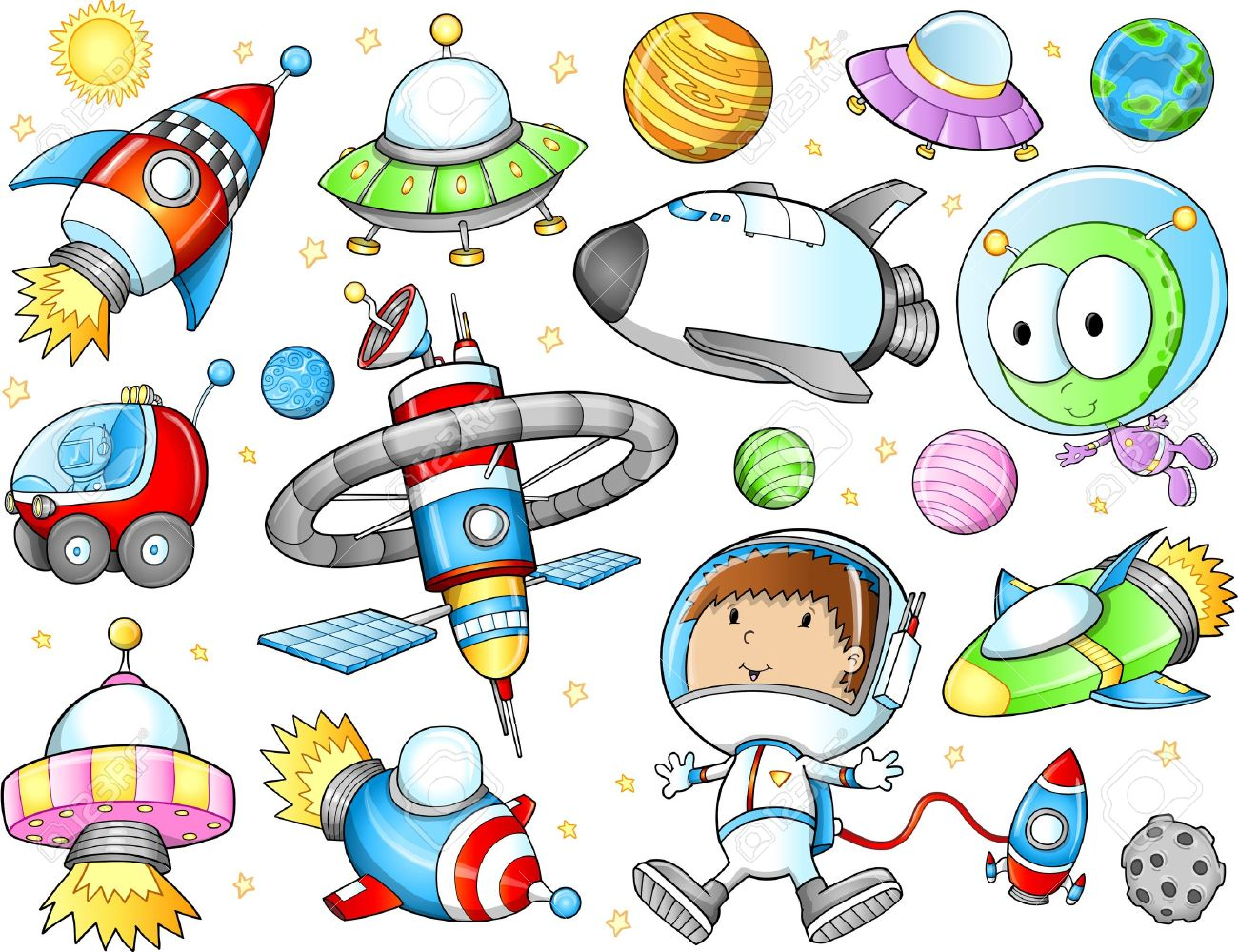 Cute Outer Space Spaceships and Astronaut Vector Set - 14968955