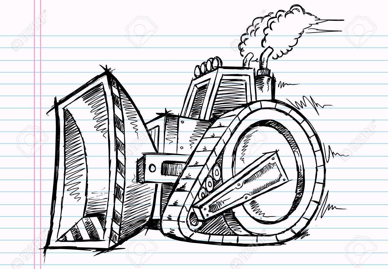 Sketch Doodle Bulldozer Illustration Stock Vector - 15122219