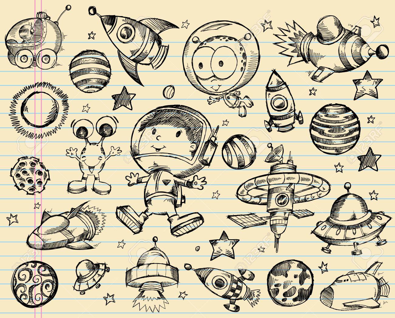 Outer Space Doodle Sketch Illustration Set Stock Vector - 15122223