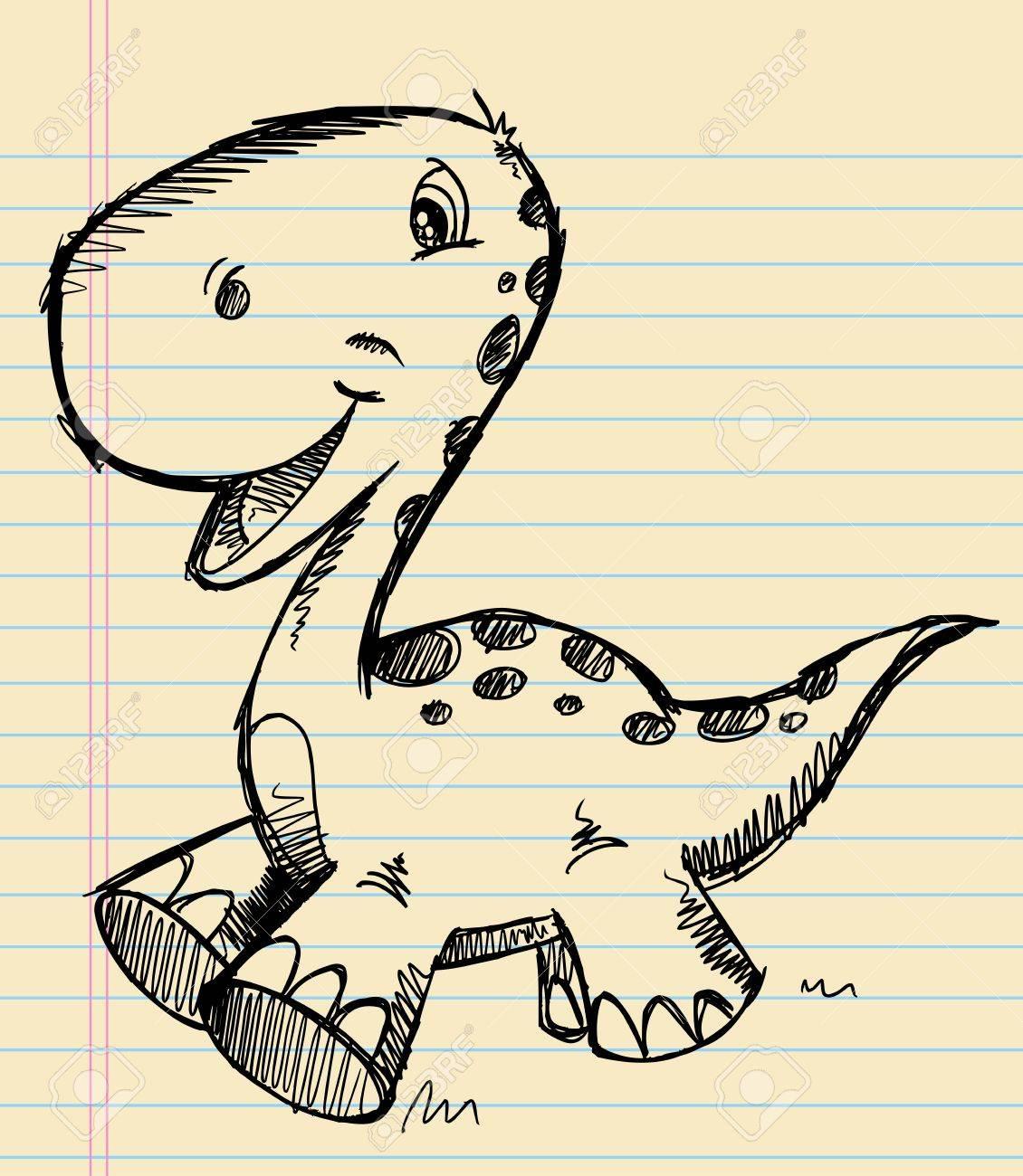 Dinosaur Doodle Sketch  Art Stock Vector - 15397914