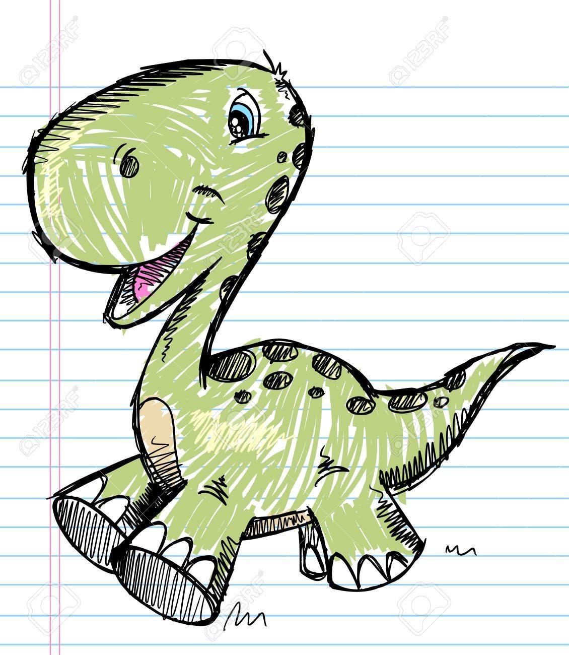 Dinosaur Doodle Sketch Color Stock Vector - 15397910