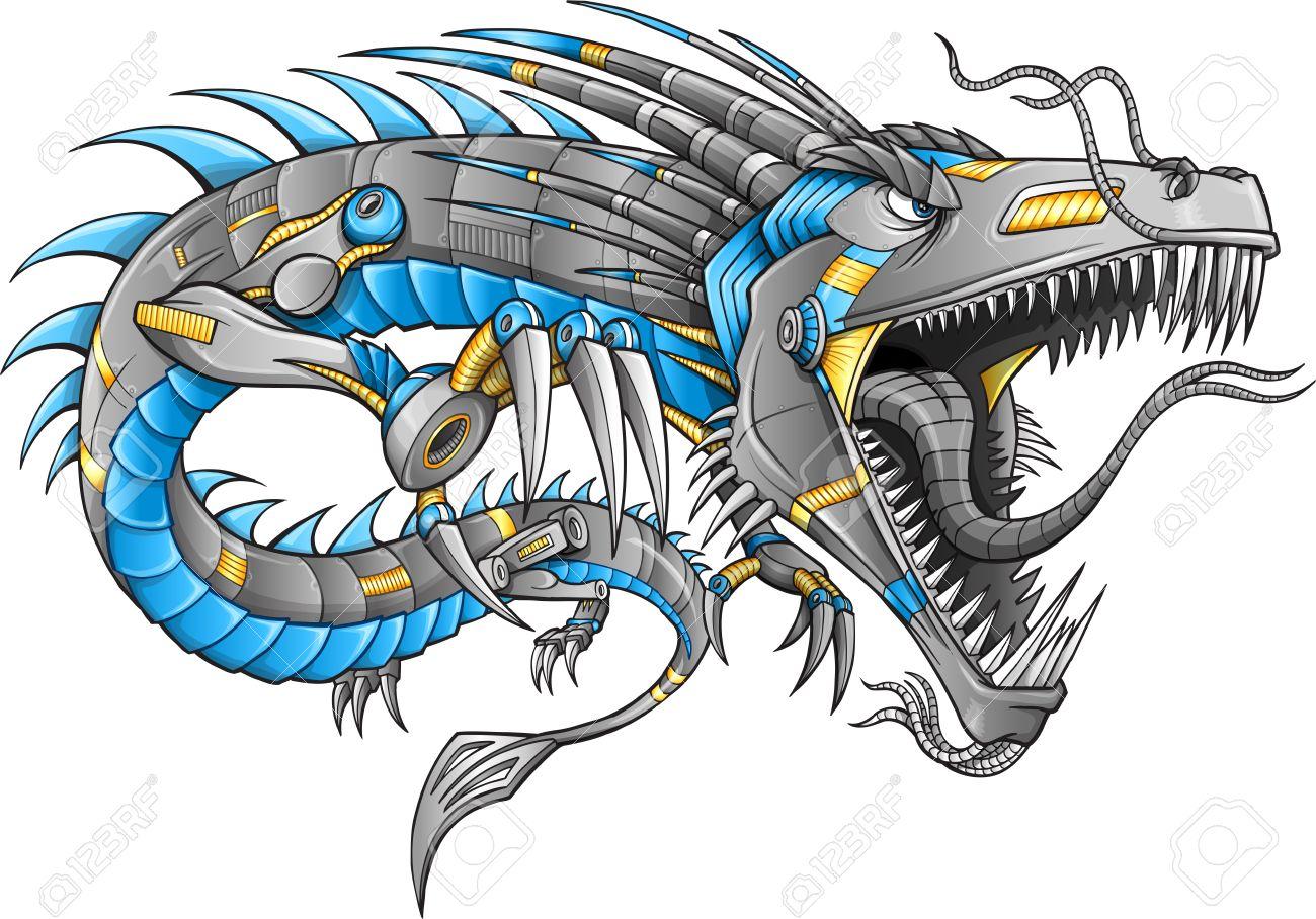 robot cyborg dragon royalty free cliparts vectors and stock