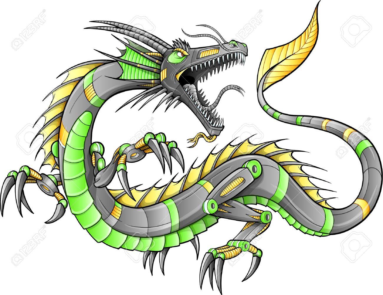 robot cyborg dragon illustration art royalty free cliparts vectors