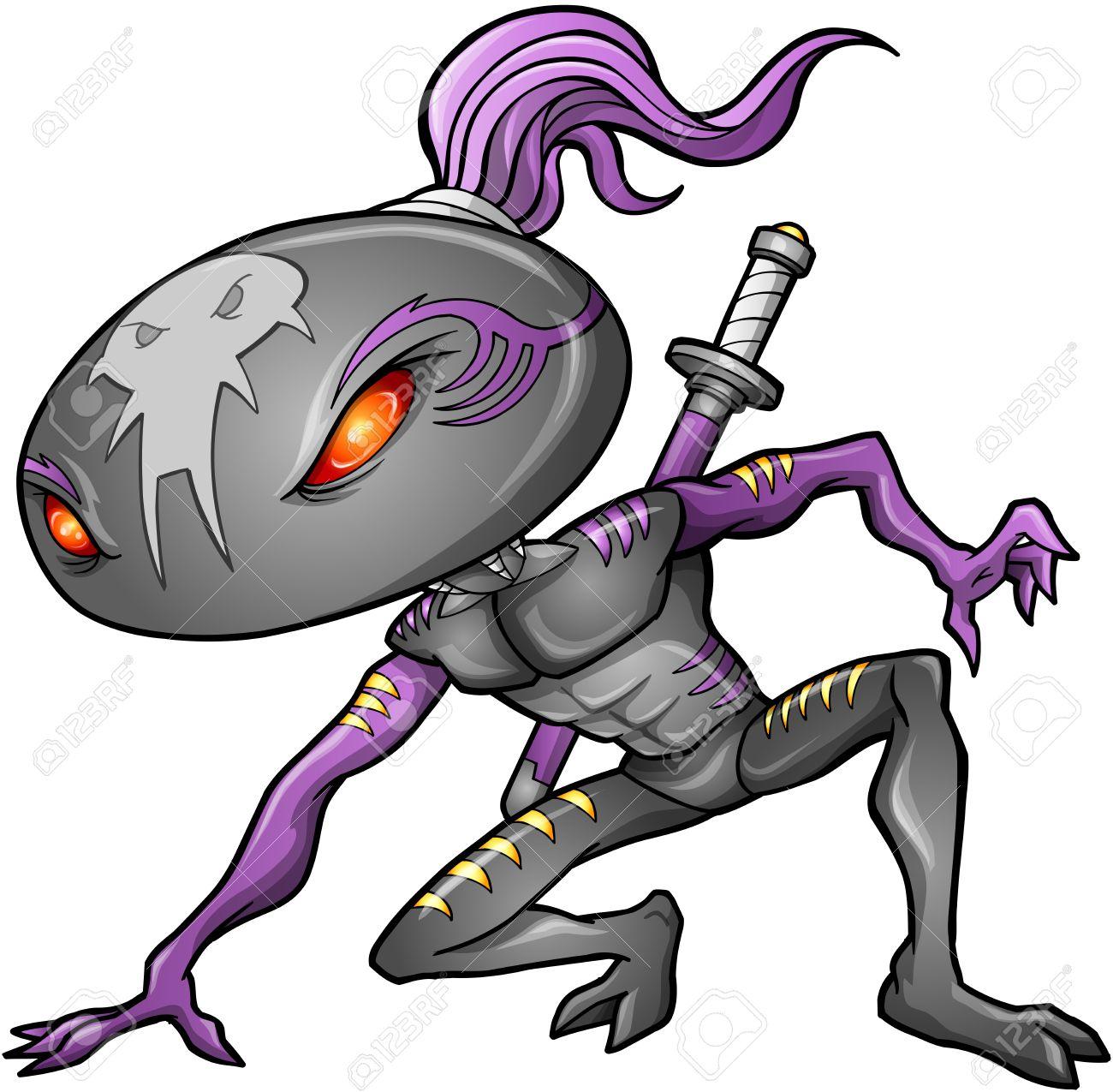 Cyborg Alien Ninja Warrior Robot Vector Stock Vector - 16542932