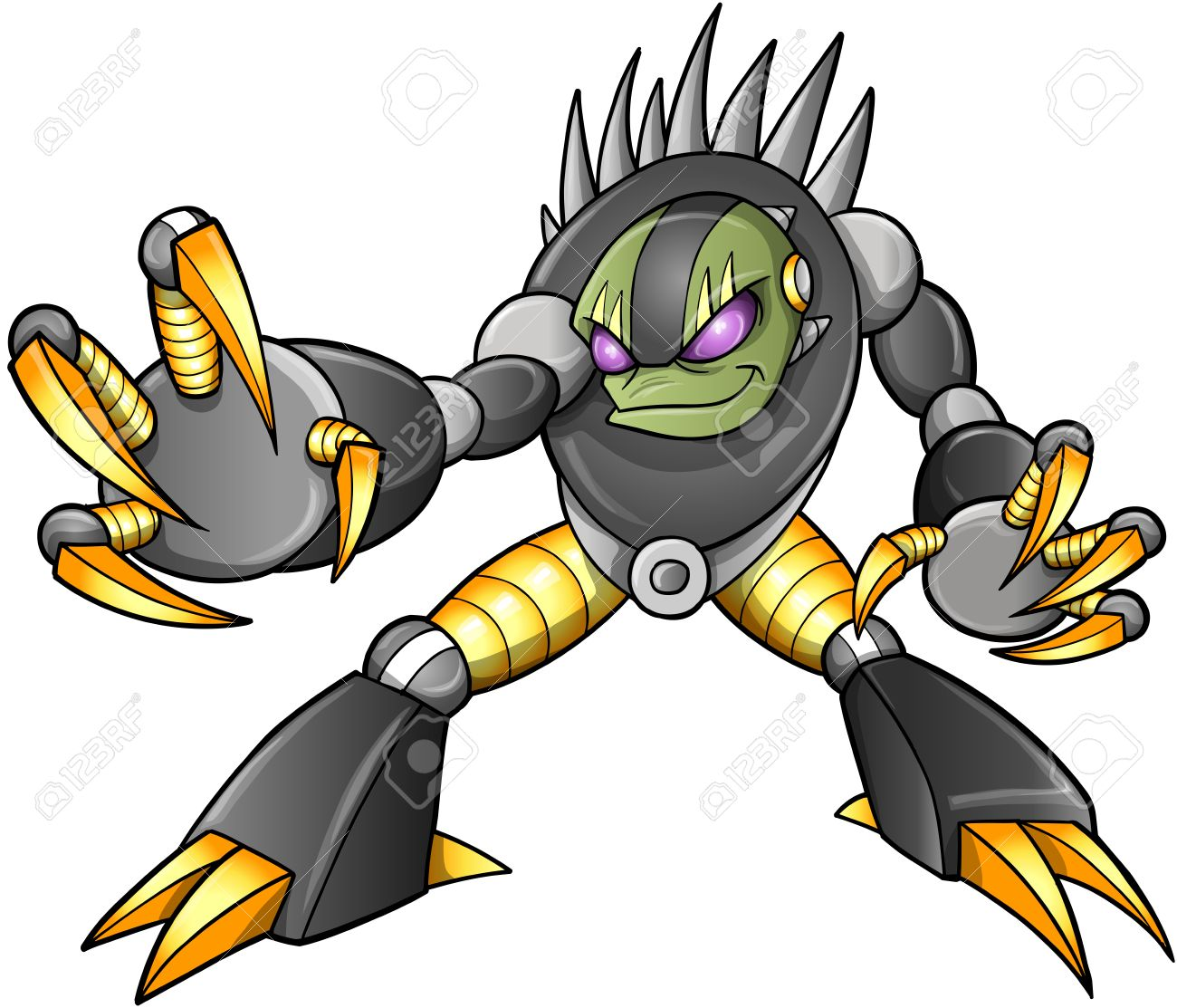 Cyborg Alien Ninja Warrior Robot Vector Stock Vector - 16542930