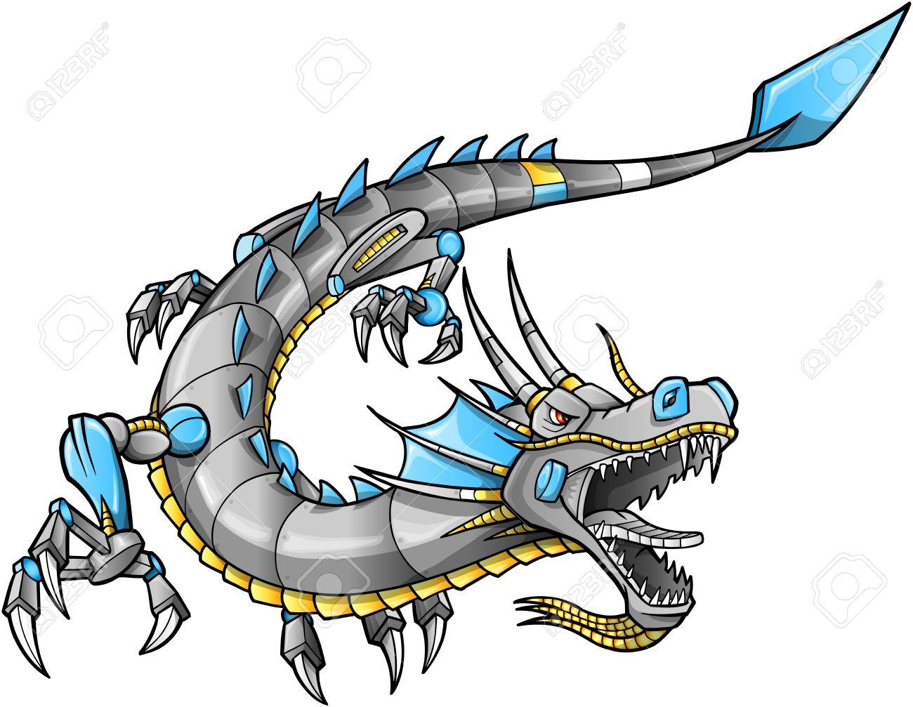 robot cyborg dragon vector illustration art royalty free cliparts