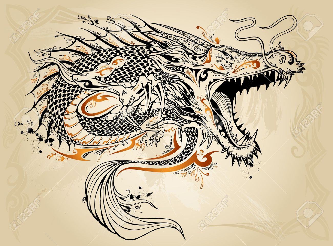 100 dragon face tattoos water dragon tattoo design by