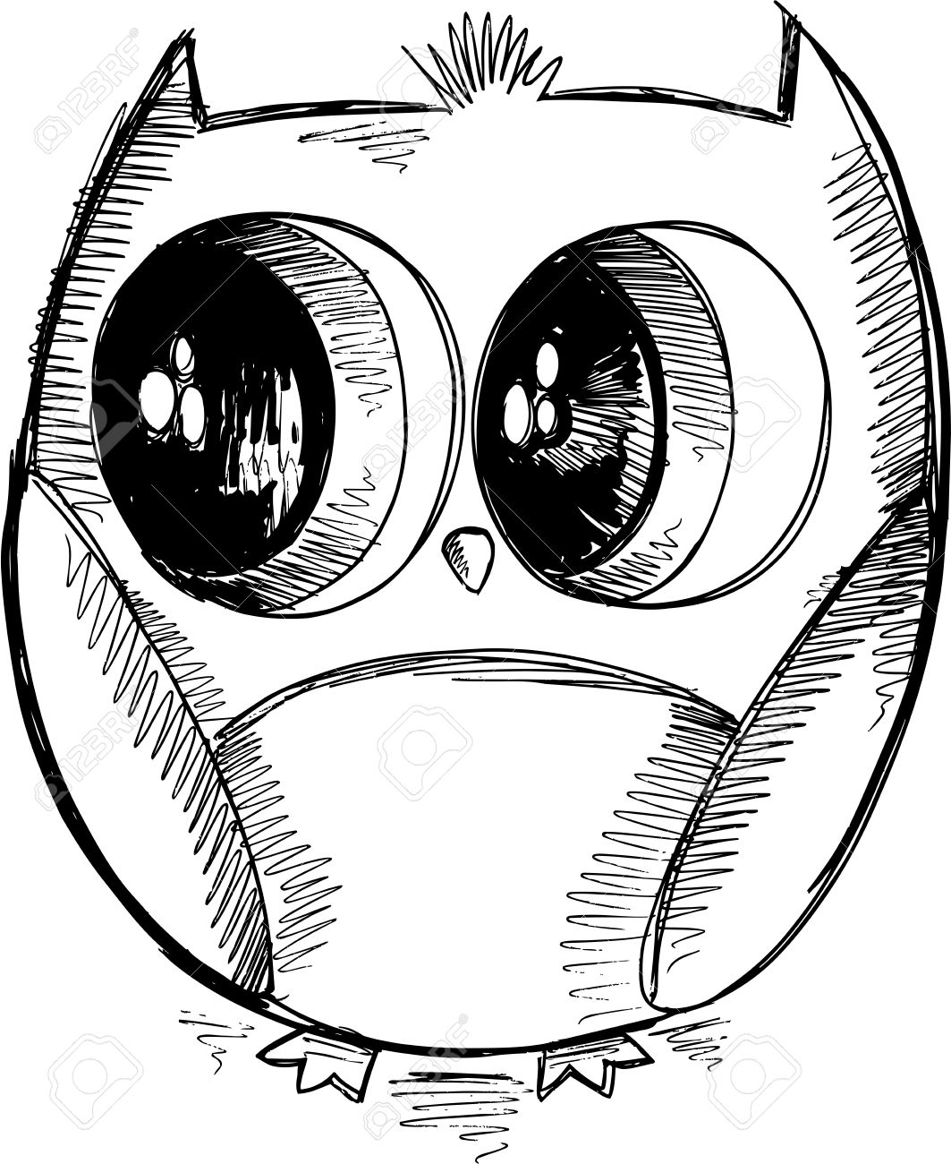 Cute Owl Sketch Doodle Vector Royalty Free Cliparts, Vectors, And ...