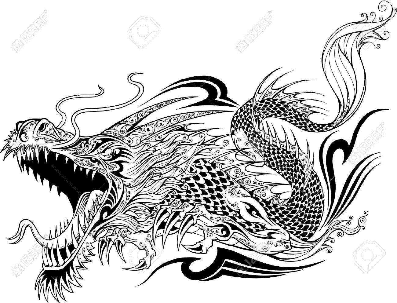 Dragon Doodle Sketch Tattoo - 17718139
