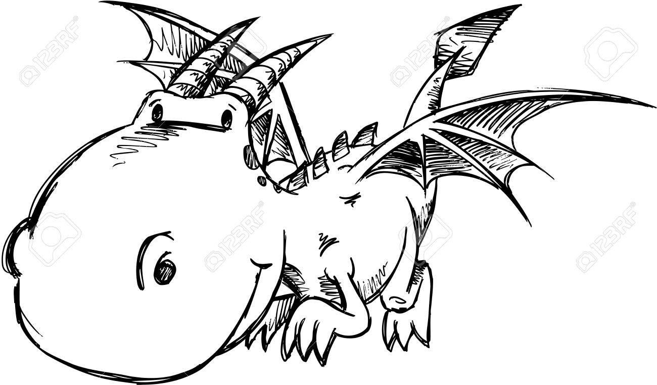 Cute Dragon Sketch Vector Art Stock Vector   18264873