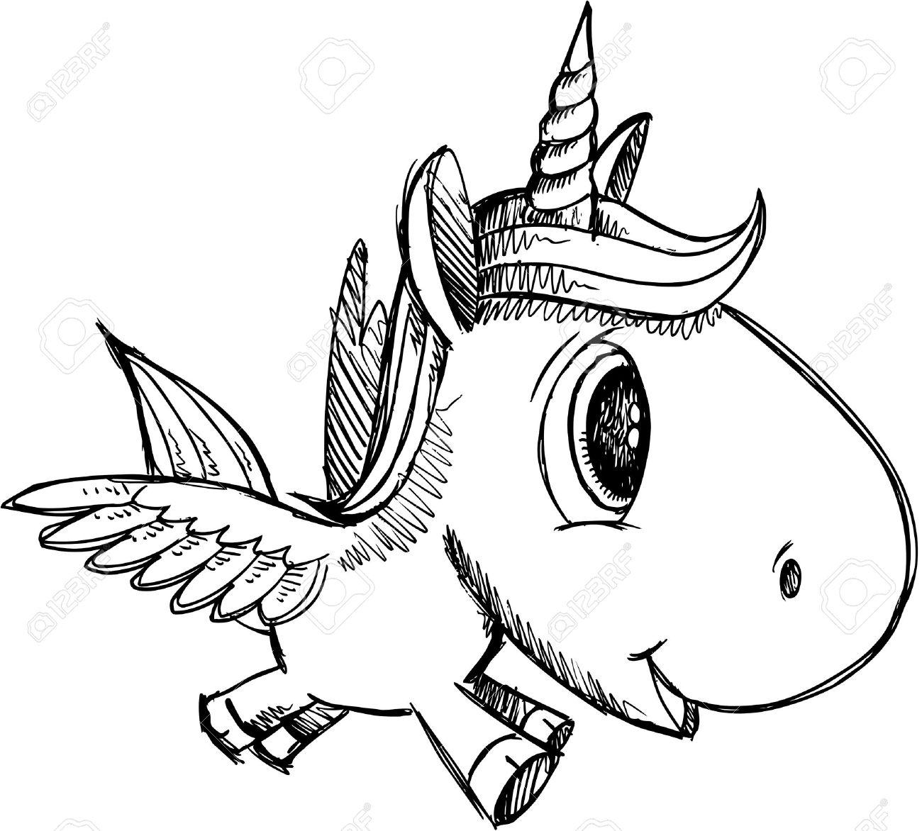 Sketch Doodle Unicorn Pegasus Alicorn Art - 18528883